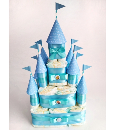 """Подарок """"Замок из памперсов голубой"""""""