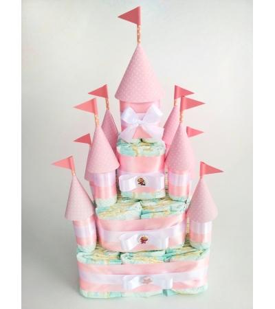 """Подарок """"Замок из памперсов розовый"""""""